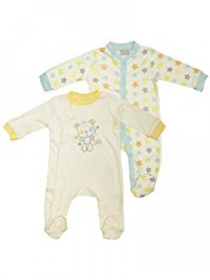 2 Pack Baby Grows Teddy & Stars