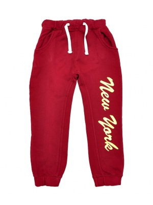 'New York' Motif Joggers Red