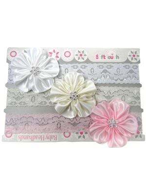 3pk Flower Lace Headbands