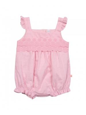 Girls Pink Woven Romper