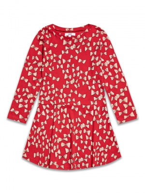 Red Bow Long Sleeved Dress