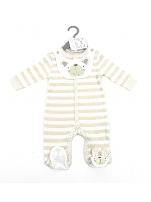 Striped Baby Grow & Bib Set
