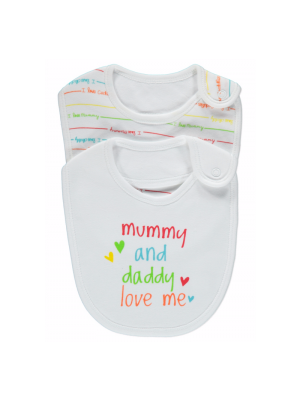 2 Pack I Love Mummy & Daddy Bibs