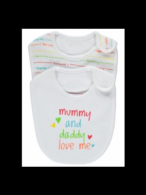 2 Pack I Love Mummy & Daddy Bibs