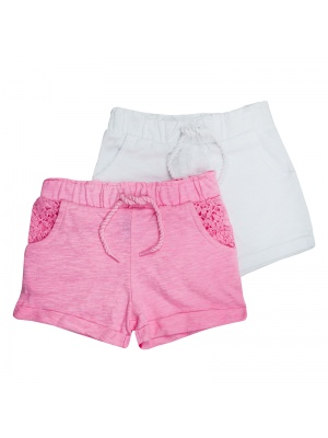 Twin Pack Pink & White Shorts