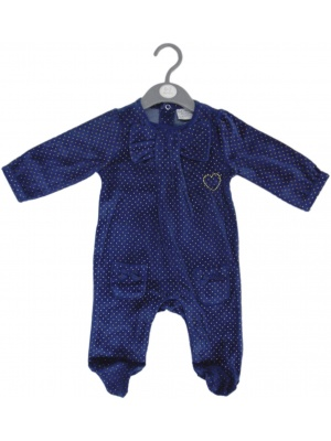 Baby Girls Bow Velour Sleepsuit
