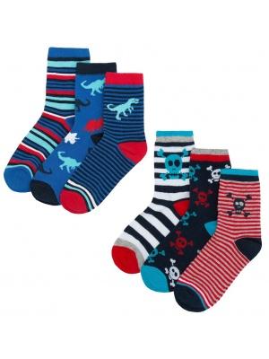 6 Pack Dinosaur & Skull Socks