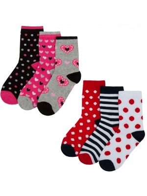 Girls 6 Pack Hearts & Polka Dots Socks