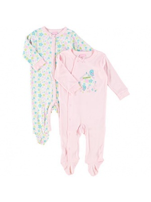 2 Pack Floral Baby Grow Set