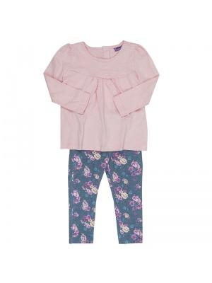 Pink Top & Floral Leggings Set