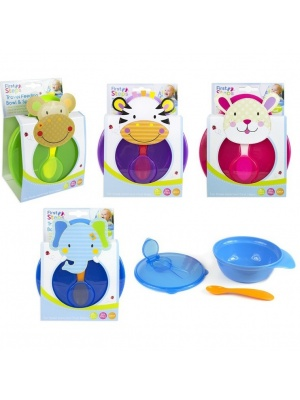 Travel Baby Feeding Bowl With Lid & Spoon
